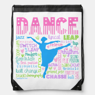 Pastel Dancer Words Typography Drawstring Bag