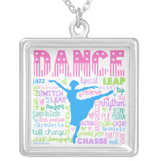 Pastel Dancer Words Typography Square Pendant Necklace
