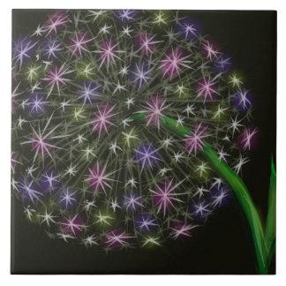 Pastel Dandelion on Black Large Square Tile