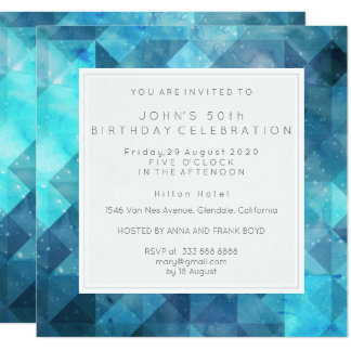 Pastel Diamond Geometric Birthday Party Blue Card