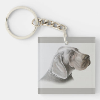 Pastel Dog Drawing Double-Sided Square Acrylic Key Ring