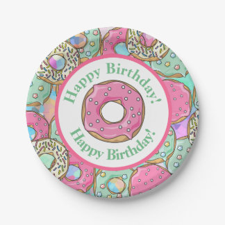 Pastel Donuts Happy Birthday Paper Plate