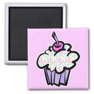 pastel dots cupcake square magnet