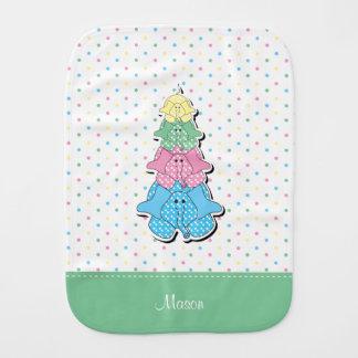 Pastel  Dots Green Baby Elephant Baby Burp Cloths