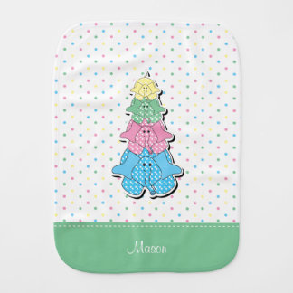 Pastel  Dots Green Baby Elephant Burp Cloth