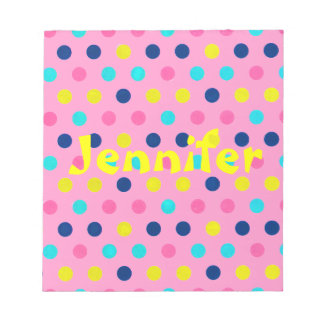 Pastel Dots on pink with name Notepad