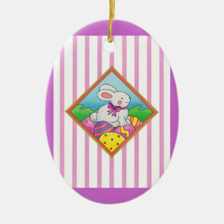 Pastel Easter Bunny Ceramic Oval Decoration