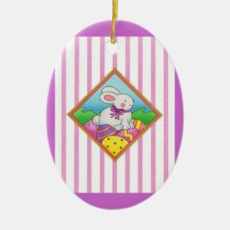 Pastel Easter Bunny Ceramic Oval Decoration