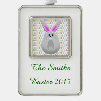 Pastel Easter Bunny Eggs Silver Plated Framed Ornament