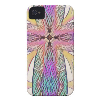 Pastel Easter Cross Artistic Stained Glass Pattern Case-Mate iPhone 4 Case
