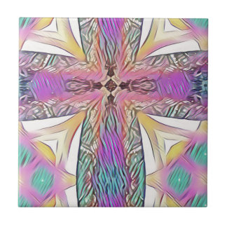 Pastel Easter Cross Artistic Stained Glass Pattern Ceramic Tile