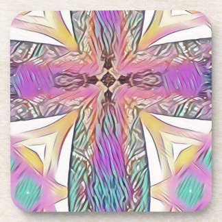 Pastel Easter Cross Artistic Stained Glass Pattern Coaster