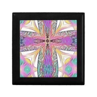 Pastel Easter Cross Artistic Stained Glass Pattern Gift Box
