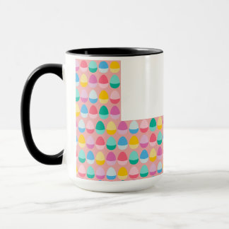 Pastel Easter Eggs Two-Toned Multi on Blush Pink Mug