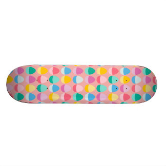Pastel Easter Eggs Two-Toned Multi on Blush Pink Skate Board