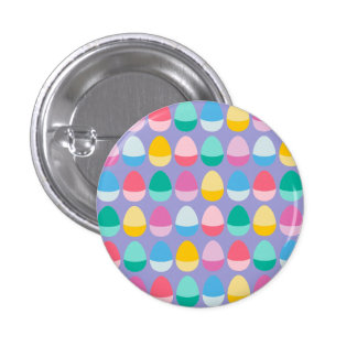 Pastel Easter Eggs Two-Toned Multi on Lilac 3 Cm Round Badge