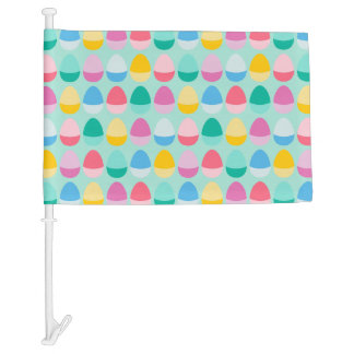 Pastel Easter Eggs Two-Toned Multi on Mint Car Flag