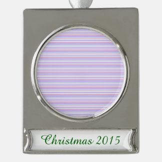 Pastel Easter Stripes Silver Plated Banner Ornament