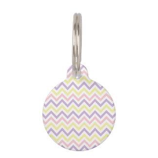 Pastel Easter Zig Zags Pattern Pet ID Tag