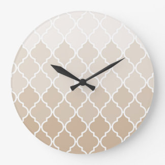 Pastel elegant brown cream quatrefoil pattern clock
