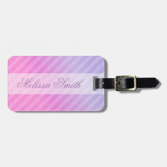 Pastel Elegant Pink Lilac Strips Personalised Luggage Tag