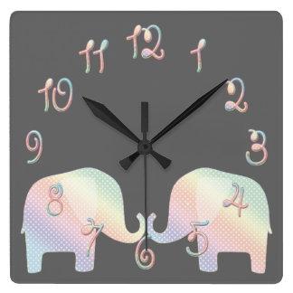 pastel elephant square wall clock