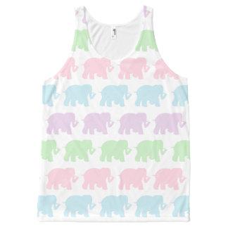 Pastel elephants All-Over print tank top