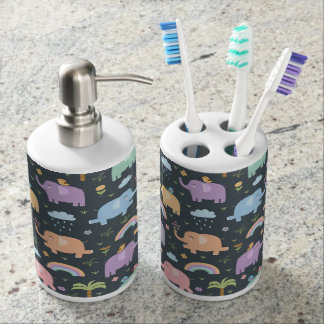 Pastel Elephants and Rainbows Soap Dispenser And Toothbrush Holder