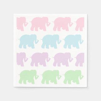 Pastel elephants cocktail napkins disposable napkin