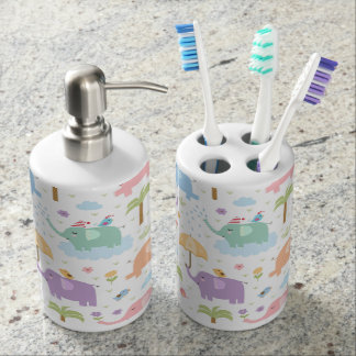Pastel Elephants Soap Dispenser And Toothbrush Holder