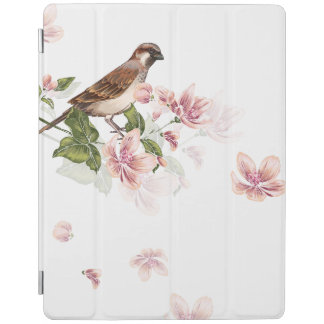 Pastel Engraved Cherry Blossoms and Sparrow iPad Cover