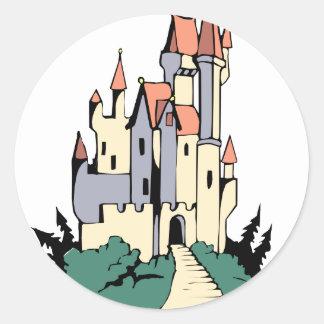 Pastel Fairytale Castle Classic Round Sticker