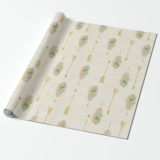 Pastel Feathers & Gold Arrows Gift Wrap Paper
