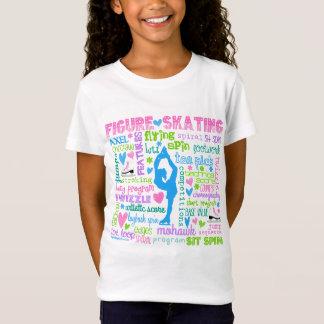 Pastel Figure Skater Words Typography T-Shirt