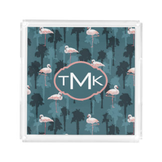 Pastel Flamingos On Teal | Monogram