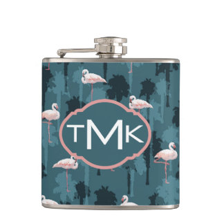 Pastel Flamingos On Teal | Monogram Flasks