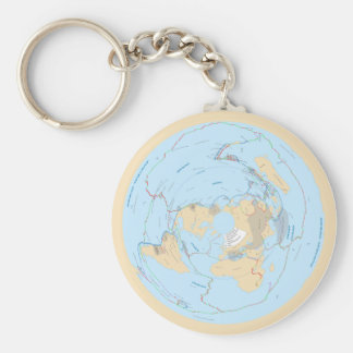 Pastel Flat Earth Tectonic Plate AE Map Keychain