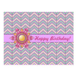 Pastel Floral Chevron Birthday Postcard