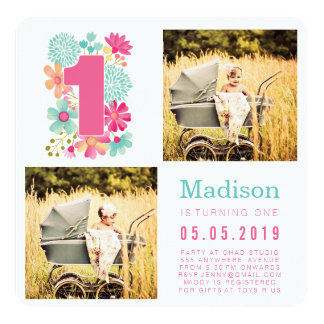 Pastel Floral Girls 1st Birthday Photo Cards 13 Cm X 13 Cm Square Invitation Card