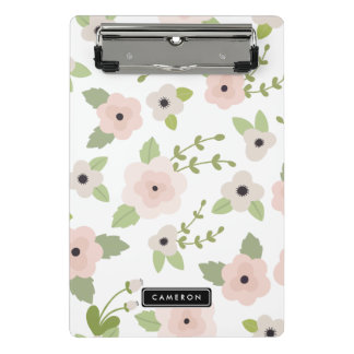 Pastel Floral Pattern Personalized Mini Clipboard
