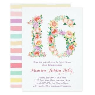 Pastel Floral Stripes Sweet Sixteen Invitations