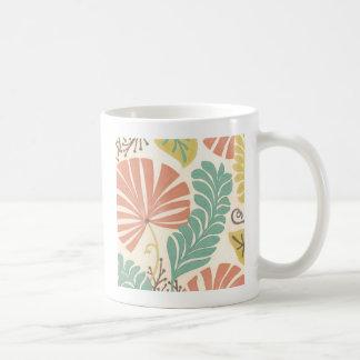 Pastel Floral Vines and Leaves on Cream Background Coffee Mug