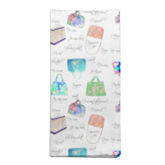 Pastel Floral Watercolor Illustrations Typography Napkin