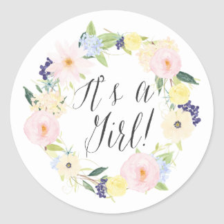 Pastel Floral Wreath It's a Girl Baby Shower Stamp Classic Round Sticker