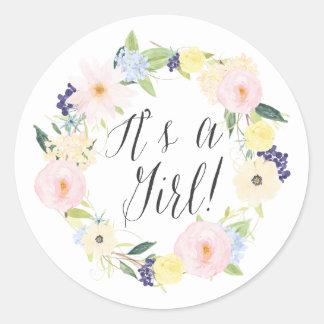 Pastel Floral Wreath It's a Girl Baby Shower Stamp Round Sticker