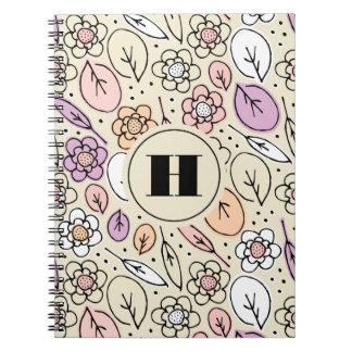 Pastel Florals & Leaves Monogram Notebook