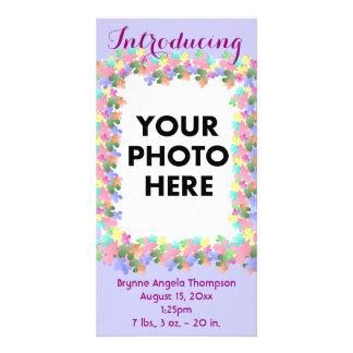 Pastel Flower Collage Custom Birth Announcement Custom Photo Card