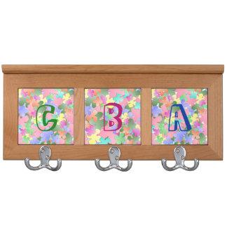 Pastel Flower Collage Monogrammed Coat Rack