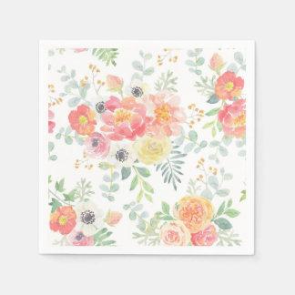 Pastel Flowers Disposable Serviette