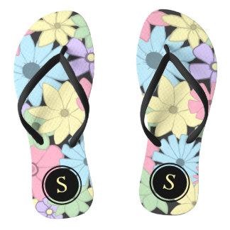 Pastel Flowers With Monogram Thongs